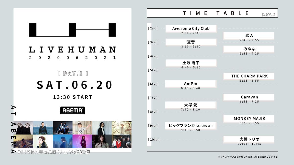 『LIVE HUMAN 2020』タイムテーブル 6月20日(土)