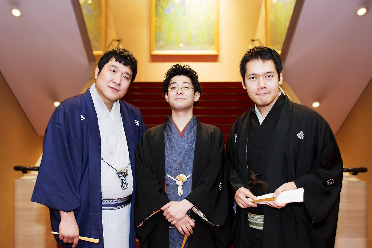 (左から)瀧川鯉八、柳亭小痴楽、神田松之丞