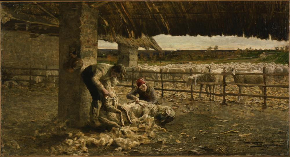 ジョヴァンニ・セガンティーニ《羊の毛刈り》 1883-84年  油彩、カンヴァス 国立西洋美術館(旧松方コレクション)