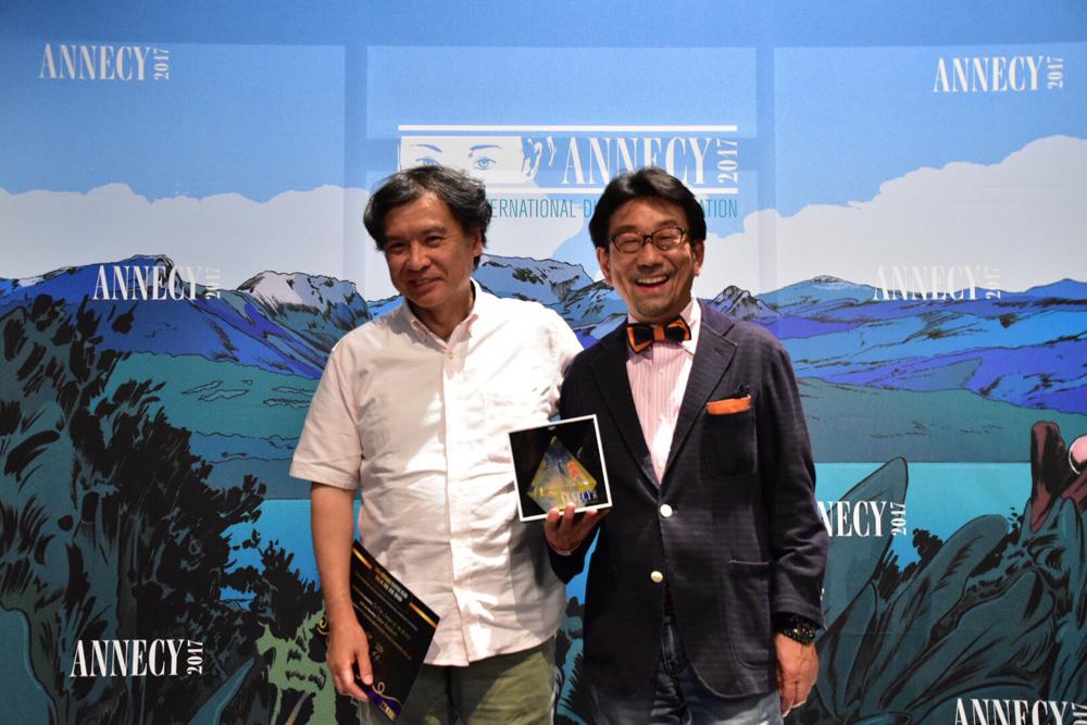 第41回アヌシー国際アニメーション映画祭 受賞後の片渕監督(左)、真木太郎プロデューサー(右)