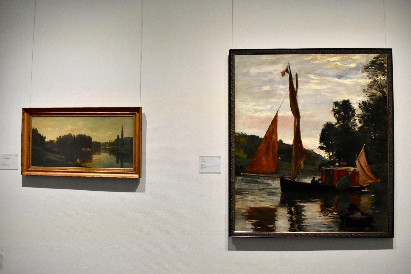 左:シャルル=フランソワ・ドービニー 《オワーズ川の中州》 1860年頃 公益財団法人村内美術館蔵 右:シャルル=フランソワ・ドービニー 《ボッタン号》 1869年頃 個人蔵