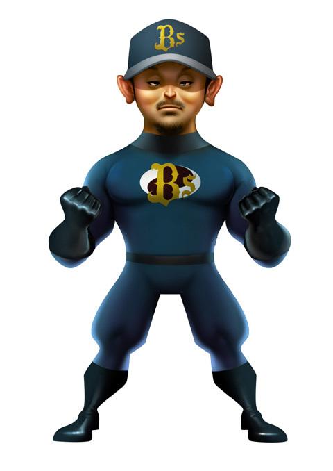 ヒーロー風に扮したピクサー公認イラストに描かれたT-岡田外野手