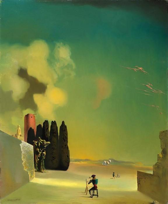 サルバドール・ダリ《謎めいた要素のある風景》 1934年、72.8×59.5cm、板に油彩、ガラ=サルバドール・ダリ財団蔵 Collection of the Fundació Gala-Salvador Dalí, Figueres © Salvador Dalí, Fundació Gala-Salvador Dalí, JASPAR, Japan, 2016.