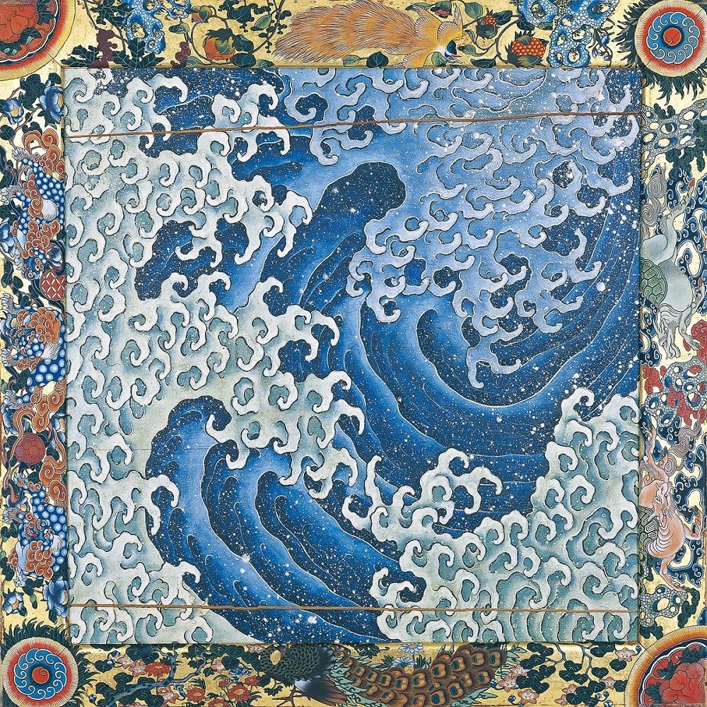 《上町祭屋台天井絵「濤図」》 弘化2年(1845) 小布施町上町自治会