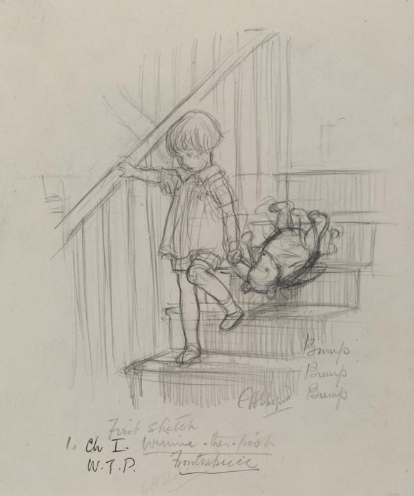 「バタン・バタン、バタン・バタン、頭を階段にぶつけながら、クマくんが二階からおりてきます」、 『クマのプーさん』第1章、E.H.シェパード、鉛筆画、1926年、V&A所蔵 (C) The Shepard Trust