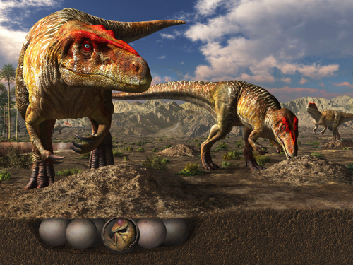 トルヴォサウルスの巣 復元画/月本佳代美