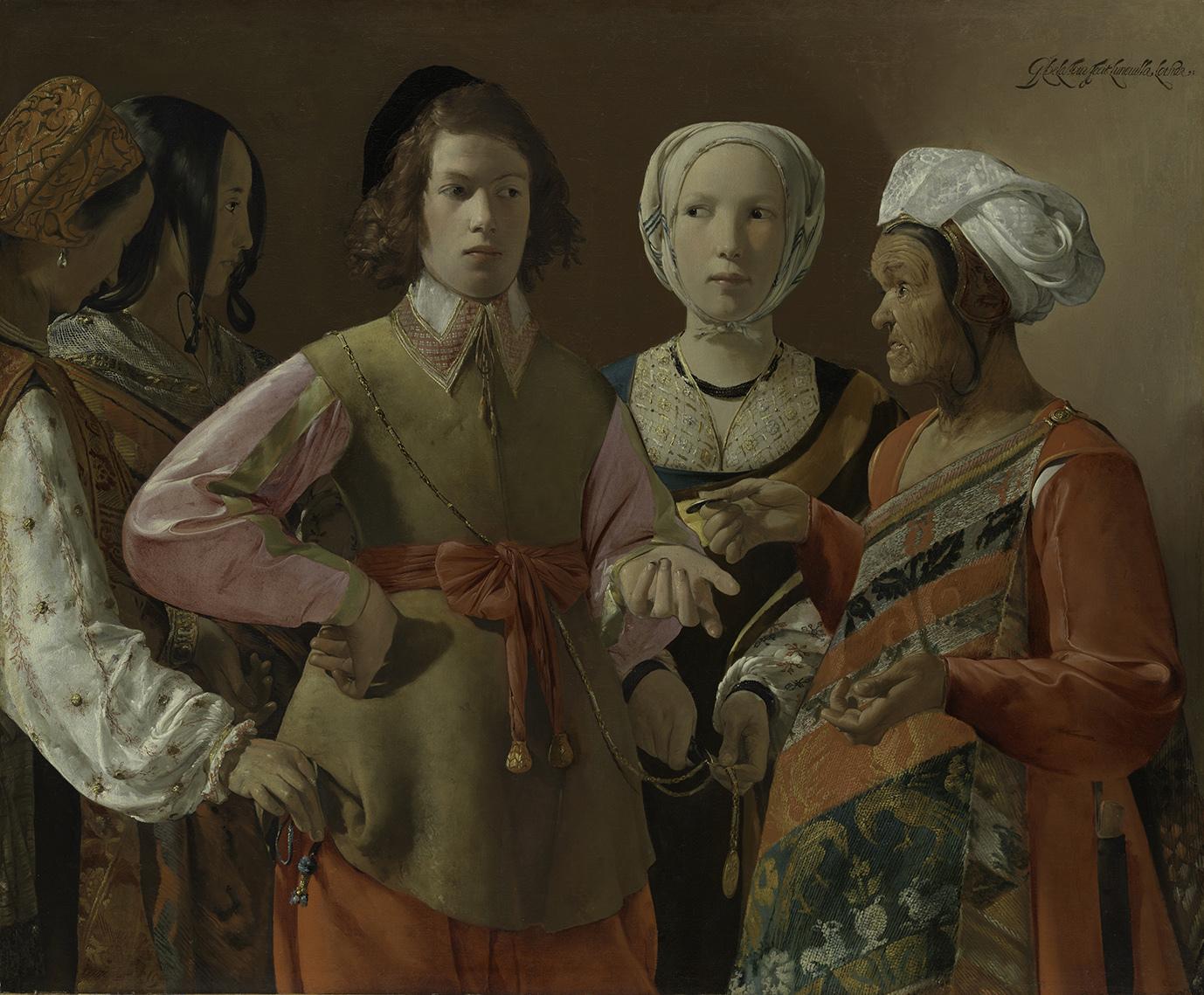 ジョルジュ・ド・ラ・トゥール《女占い師》おそらく1630年代 油彩、カンヴァス 101.9x123.5cm メトロポリタン美術館