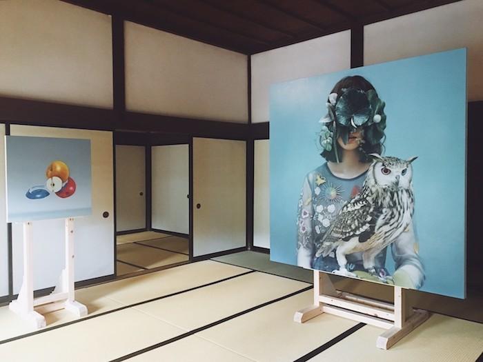 作品:薄久保 香 展示場所:掛川城御殿 展示作品:「リンゴのコラージュ」「化鳥/遊びの法則」