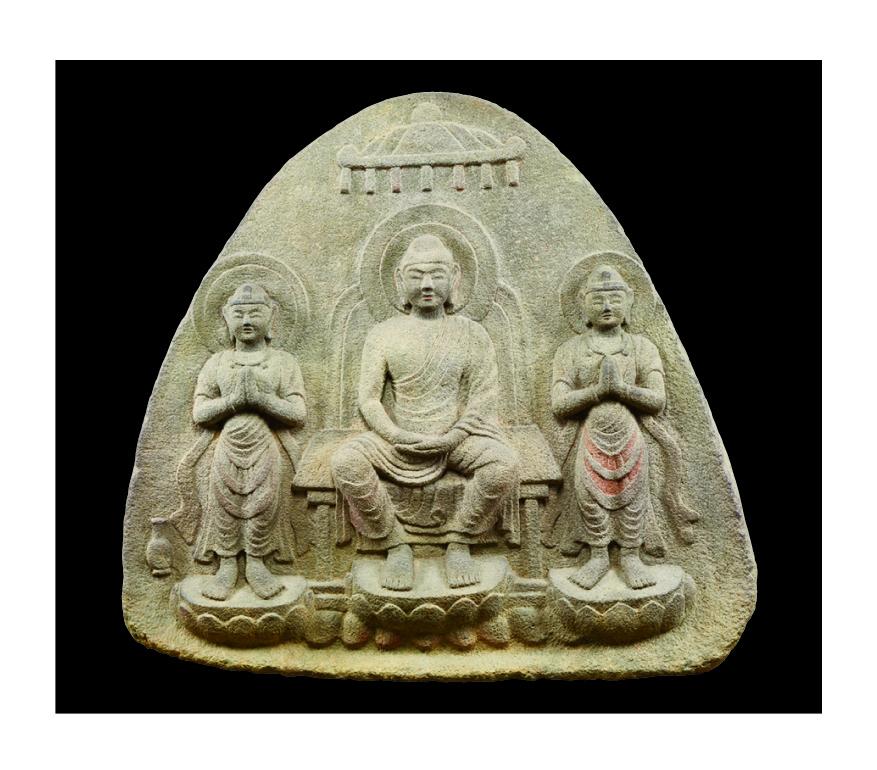 重要文化財 浮彫伝薬師三尊像 飛鳥~奈良時代・7~8世紀 奈良・石位寺蔵