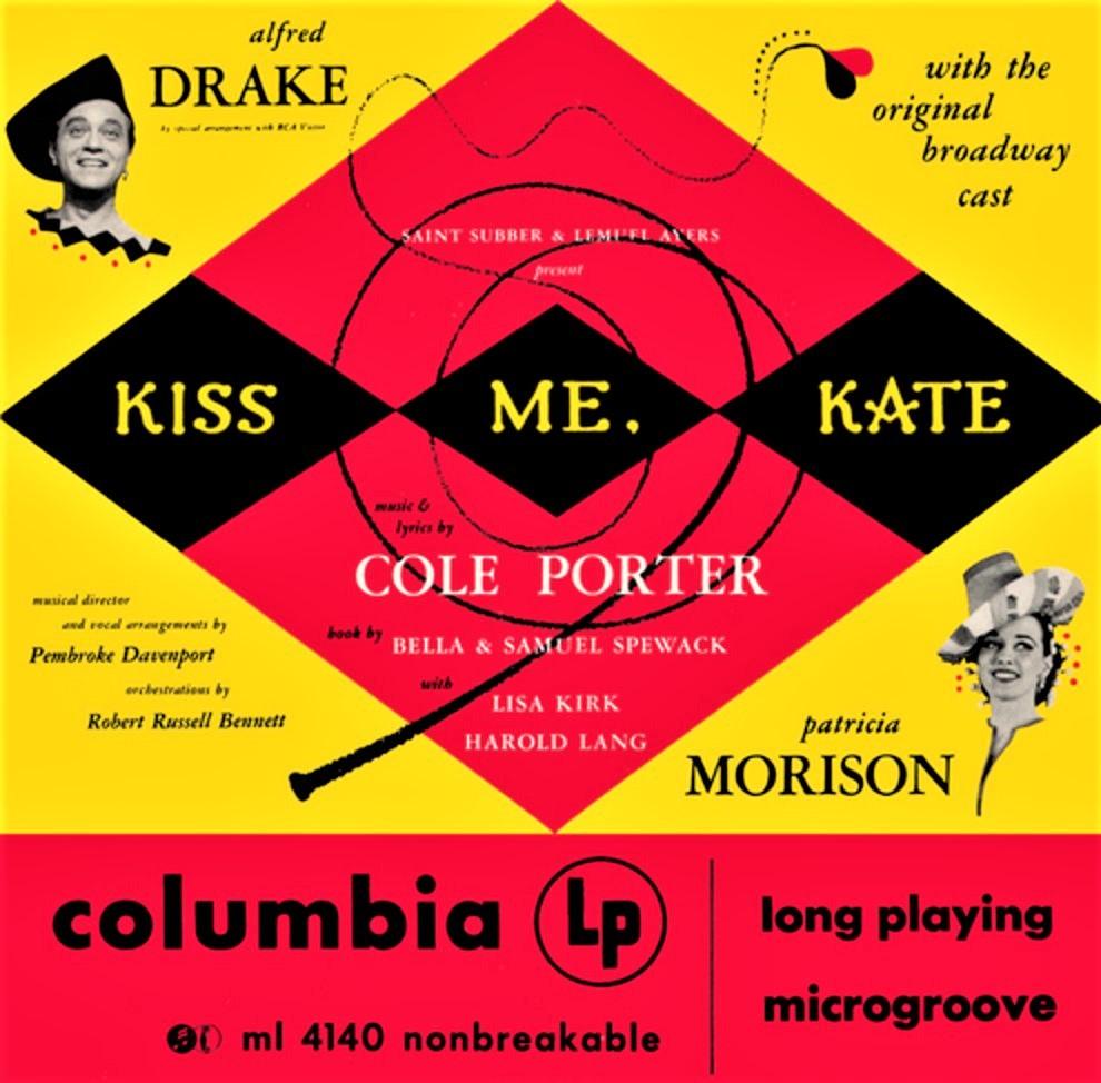 『キス・ミー・ケイト』(1948年)のオリジナル・キャストLP。ジャケット下に、nonbreakable(割れません)と表示されている(昔のレコードは割れやすかった)。