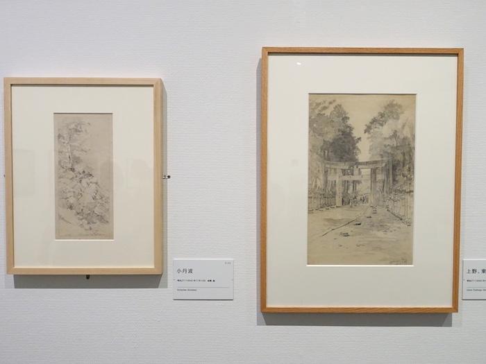左から《小丹波》明治27年 個人蔵、《上野、東照宮》明治27年 郡山市立美術館