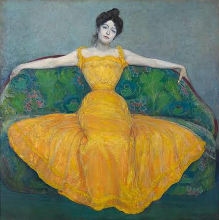 マクシミリアン・クルツヴァイル 《黄色いドレスの女性(画家の妻)》 1899年 油彩/合板 ウィーン・ミュージアム蔵 (C)Wien Museum / Foto Peter Kainz