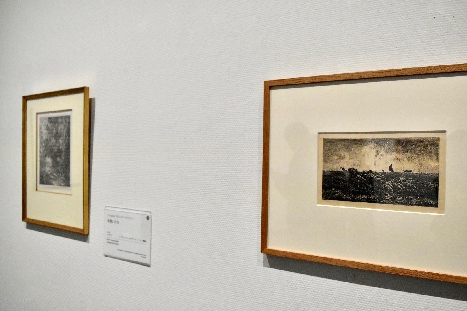 右:シャルル=フランソワ・ドービニー 《にわか雨》 1851年 ドービニー美術館蔵