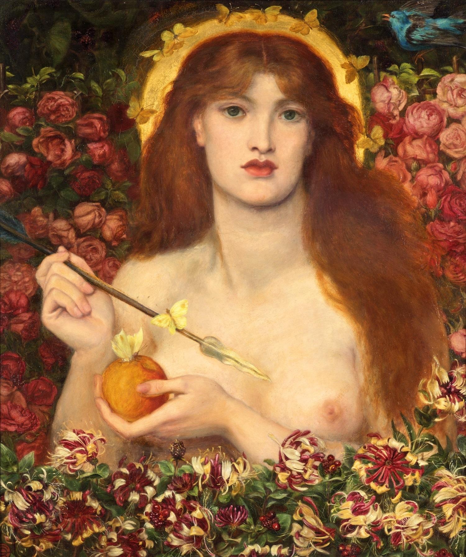 ダンテ・ゲイブリエル・ロセッティ《ウェヌス・ウェルティコルディア(魔性のヴィーナス)》1863-68年頃、 油彩/カンヴァス、83.8×71.2 cm、ラッセル=コーツ美術館   (C) Russell-Cotes Art Gallery & Museum, Bournemouth