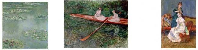 左:クロード・モネ《睡蓮》1907年  中央:クロード・モネ《バラ色のボート》1890年  右:ピエール・オーギュスト・ルノワール《髪かざり》1888年