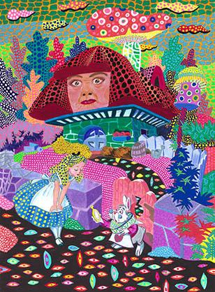 不思議の国のアリスの世界に草間彌生さんを連想した一枚