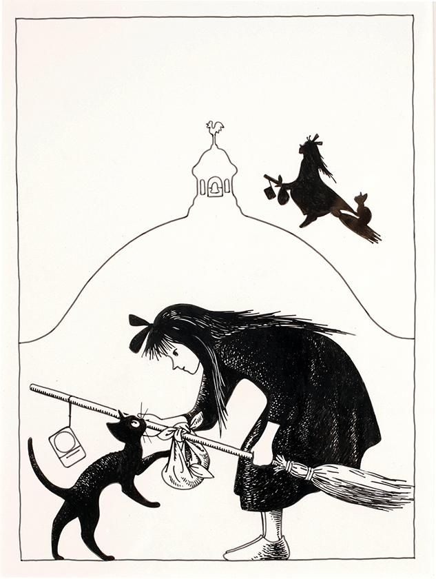 林明子画『魔女の宅急便』表紙原画 1985 年1月  福音館書店 ⓒAkiko Hayashi