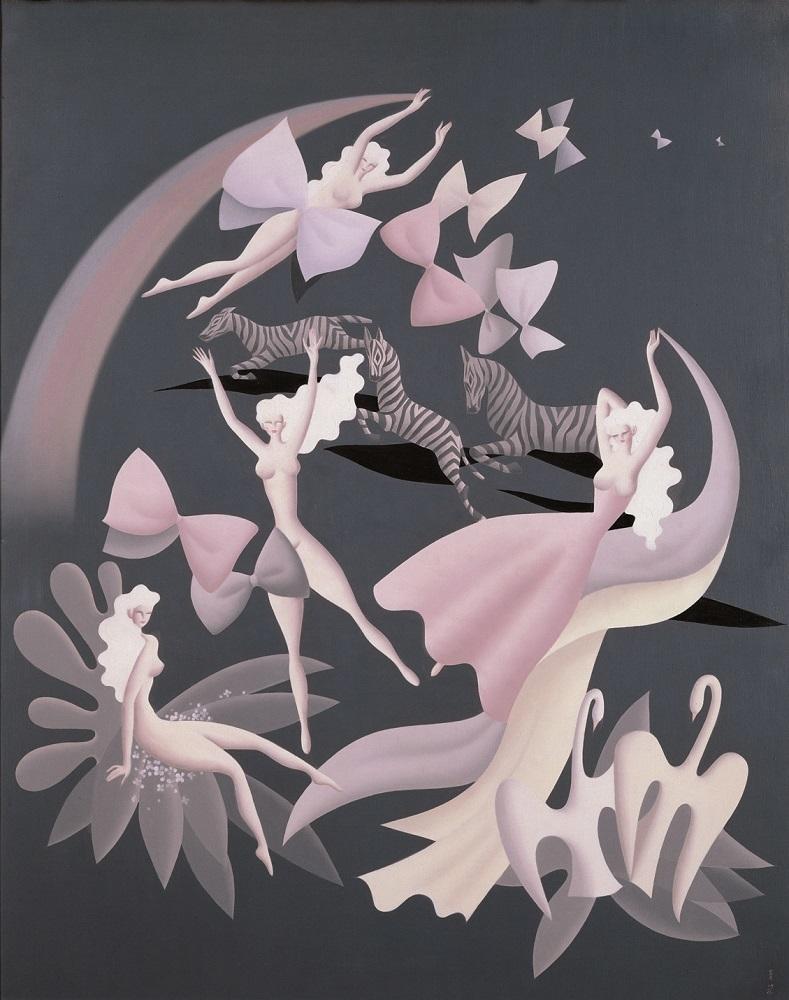 《平和と団結》、1952年、油彩・キャンヴァス、99.0×79.0cm、朝日新聞社