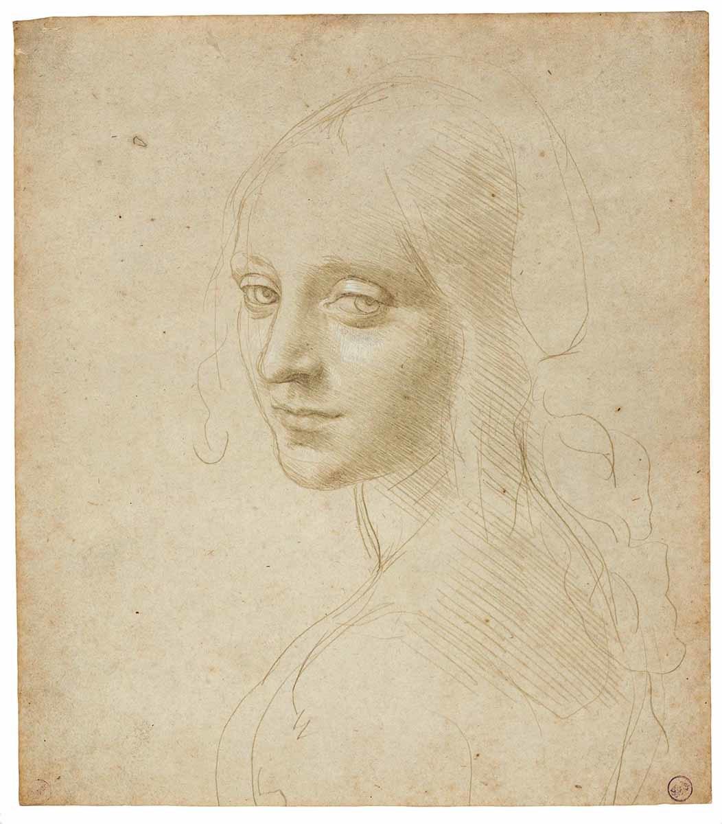 レオナルド・ダ・ヴィンチ 《少女の頭部/<岩窟の聖母>の天使のための習作》 1483-85年頃 トリノ王立図書館 ©Torino, Biblioteca Reale