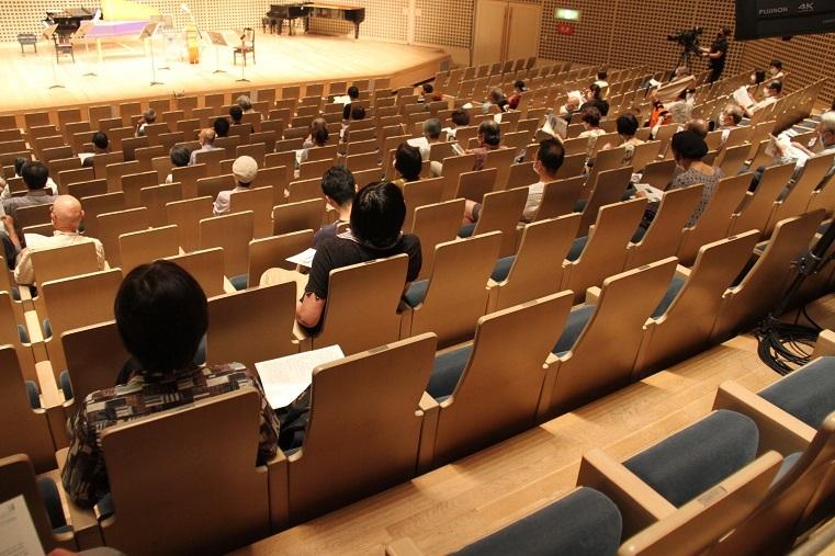 新型コロナウイルス騒動後、初めて開催された京都フィルの演奏会の客席。