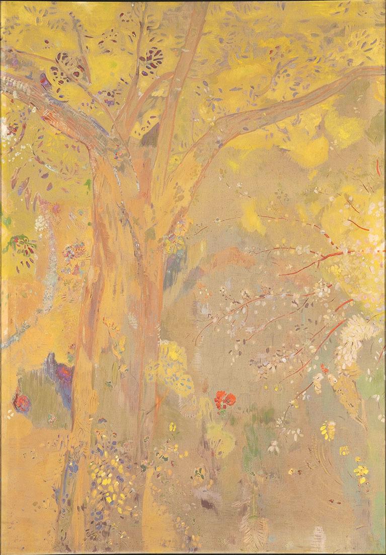 [ドムシー男爵の城館の食堂壁画15枚のうち] A.《黄色い背景の樹》1900-1901年 木炭、油彩、デトランプ/カンヴァス オルセー美術館蔵  Photo©RMN-Grand Palais (musée d'Orsay) / Hervé Lewandowski / distributed by AMF