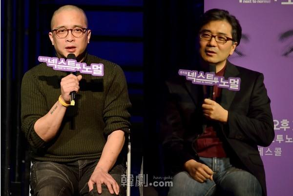 演出家ビョン・チョンジュ(左)とプロデューサーのパク・ヨンホ