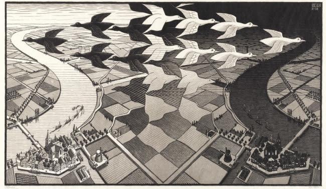 《昼と夜》1938年 All M.C. Escher works copyright (C)The M.C.Escher Company B.V. - Baarn - Holland. All rights reserved. www.mcescher.com