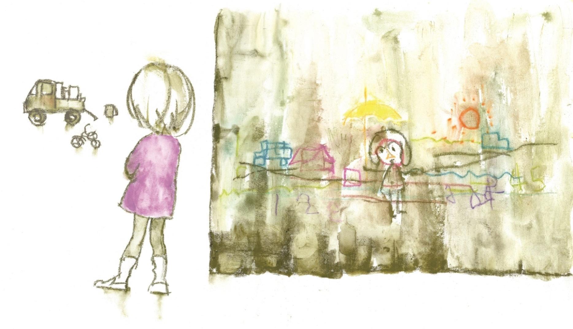 引越しのトラックを見つめる少女『となりにきたこ』(至光社)より 1970年 ちひろ美術館蔵