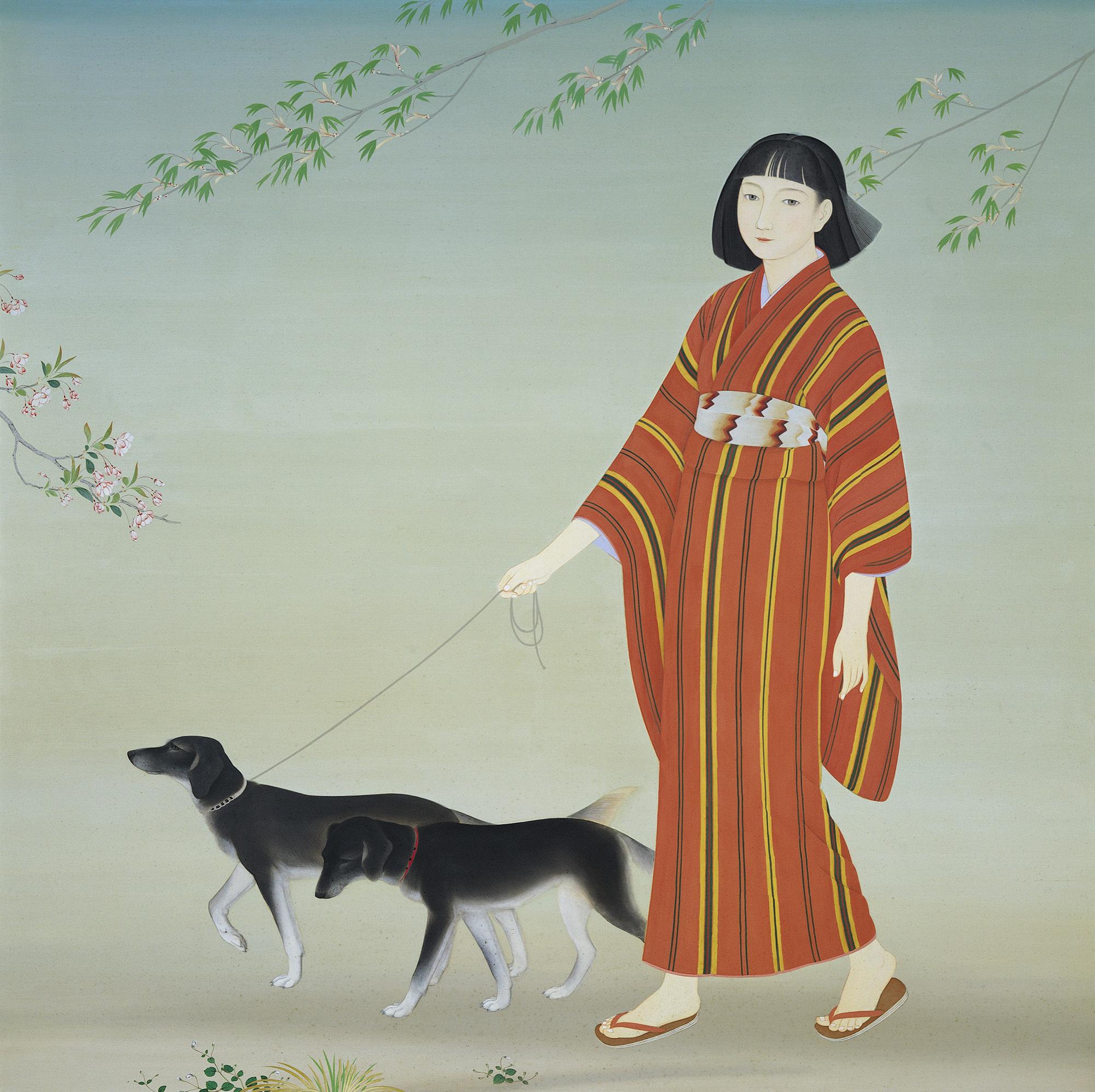 菊池契月《散策》 昭和9年(1934) 173.0×173.5 京都市美術館蔵