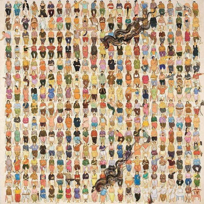 N・S・ハルシャ 《ここに演説をしに来て》 2008年 アクリル、キャンバス 182.9×182.9 cm(×6)