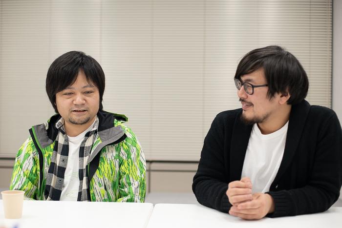 (左から)トリコロールケーキ作・演出 今田健太郎、地蔵中毒主宰・作・演出 大谷皿屋敷