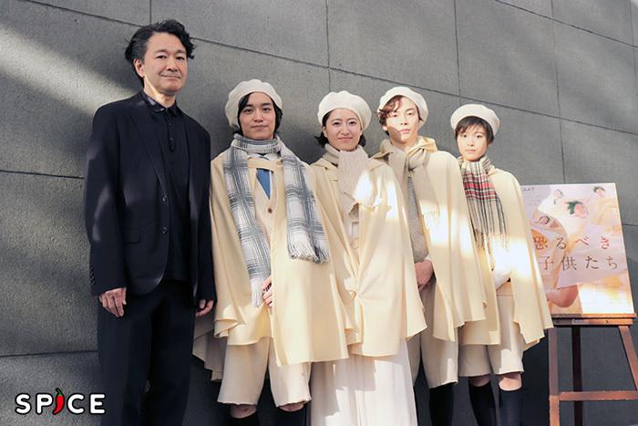(左から)白井晃、松岡広大、南沢奈央、柾木玲弥、馬場ふみか