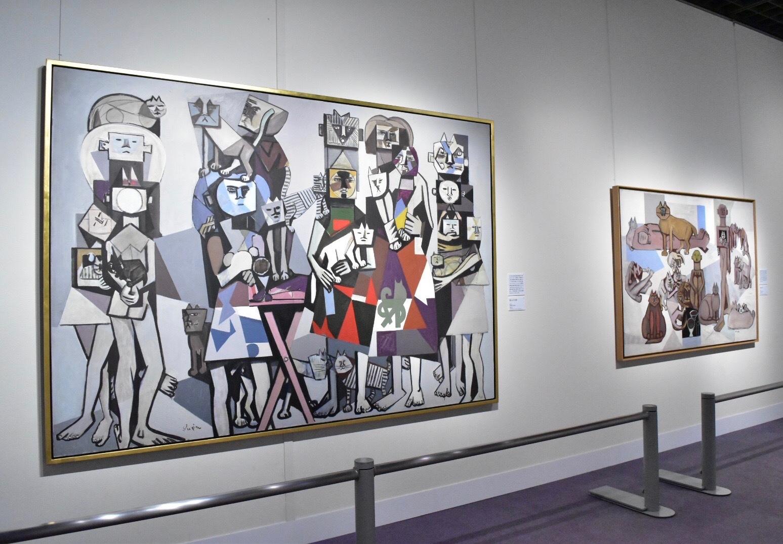 左:《猫によせる歌》 猪熊弦一郎 1952年 丸亀市猪熊弦一郎現代美術館