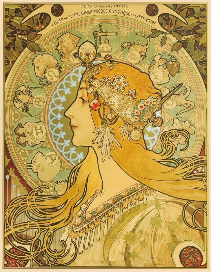 ポスター《黄道十二宮》1896年 リトグラフ
