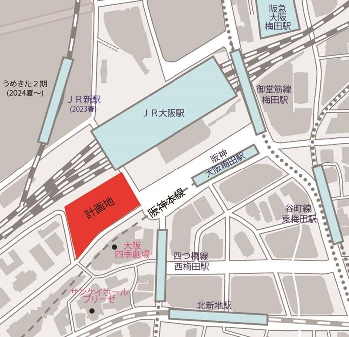 「梅田3丁目計画(仮称)」 予定地と周辺のアクセスの状況