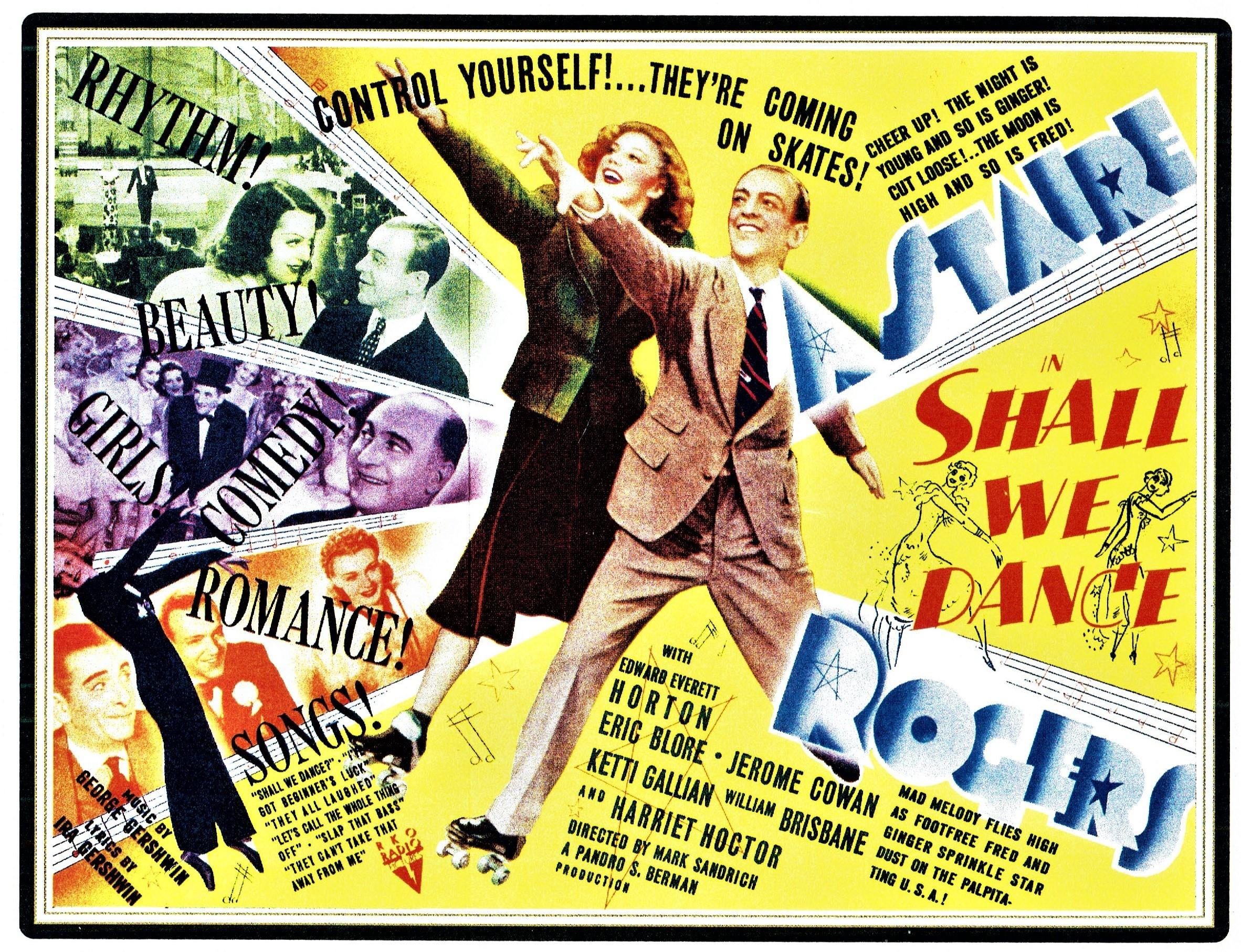 ガーシュウィン兄弟が楽曲を提供したミュージカル映画「踊らん哉」(1937年)、アメリカ公開時のポスター。フレッド・アステア&ジンジャー・ロジャーズ主演   Photo Courtesy of Michael Feinstein