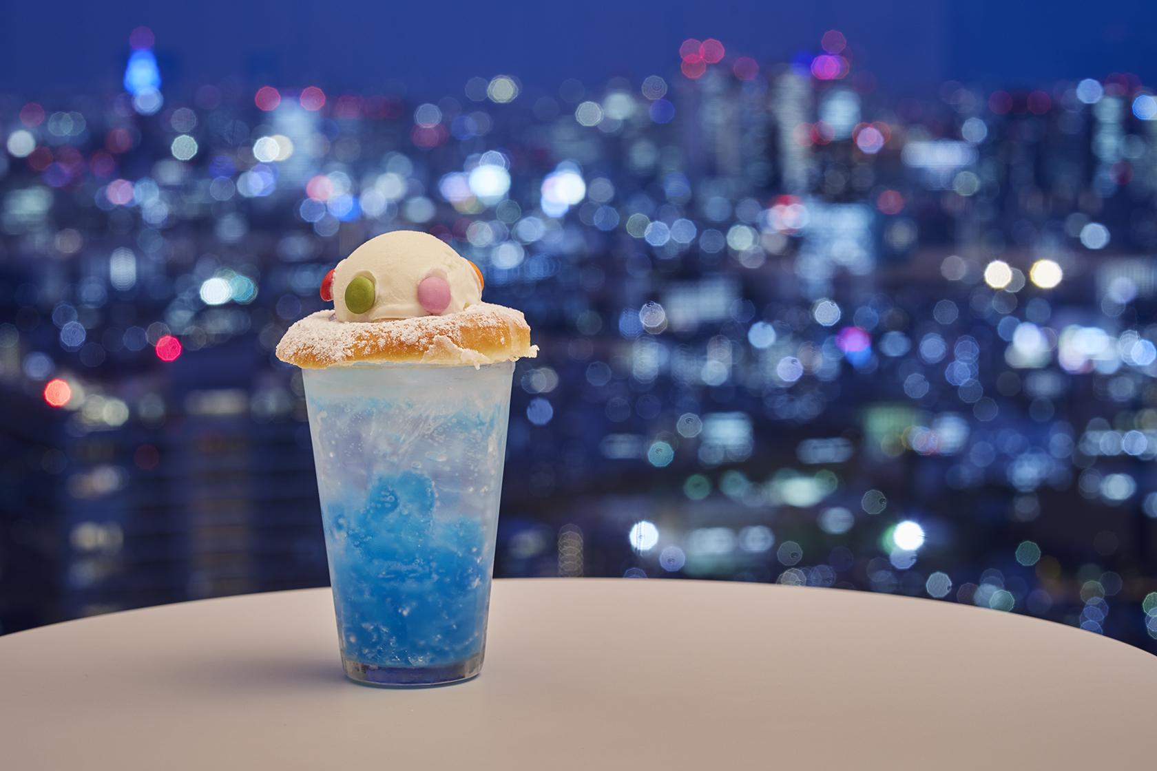 Cafe Quu Quu Quu:UFOをイメージした期間限定特別メニュー「UFOソーダ」(750円)