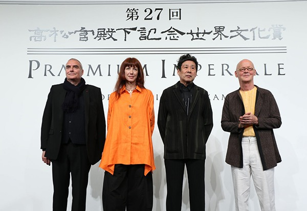 合同記者会見(左よりドミニク・ペロー氏、シルヴィ・ギエム氏、横尾忠則氏、ヴォルフガング・ライブ氏) š© The Japan Art Association/The Sankei Shimbun