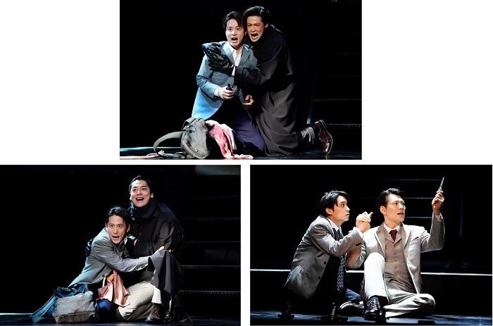 『スリル・ミー』(上段写真)田代万里生、新納慎也(下段写真 左側)成河、福士誠治、(下段写真 右側)松岡広大、山崎大輝
