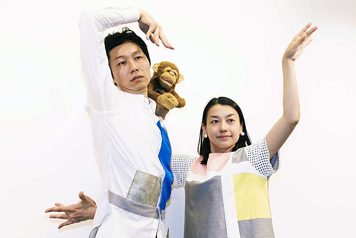 ザ・ぷー(左から街角マチオ、川島さる太郎、街角マチコ)  (撮影:池上夢貢)