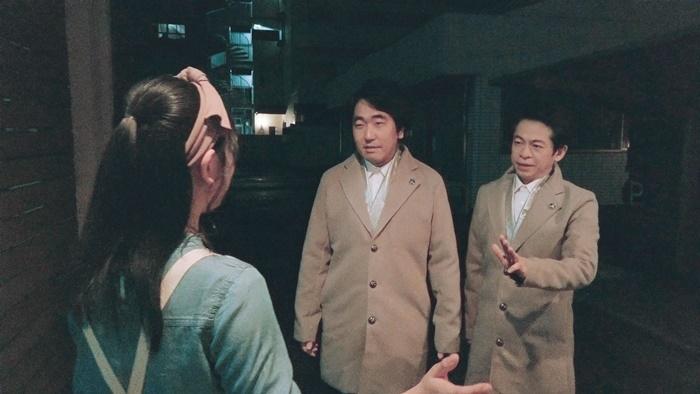 映画『ドロステのはてで僕ら』劇中シーンより。(左から)藤谷理子、本多力、永野宗典。