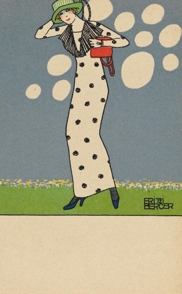 フリッツィ・ベルガー《ファッション ウィーン工房ポストカード No.788》1912 年 カラーリトグラフ 14 x 9 cm ウィーン・ミュージアム蔵 (C)Wien Museum / Foto Peter Kainz