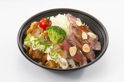 """""""宮崎牛""""ロースとチキン南蛮のコンボ 950円(税込)"""