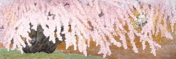展示作品一例 「繁栄の桜」日本画 南 正文(大阪府/口で描いた絵)