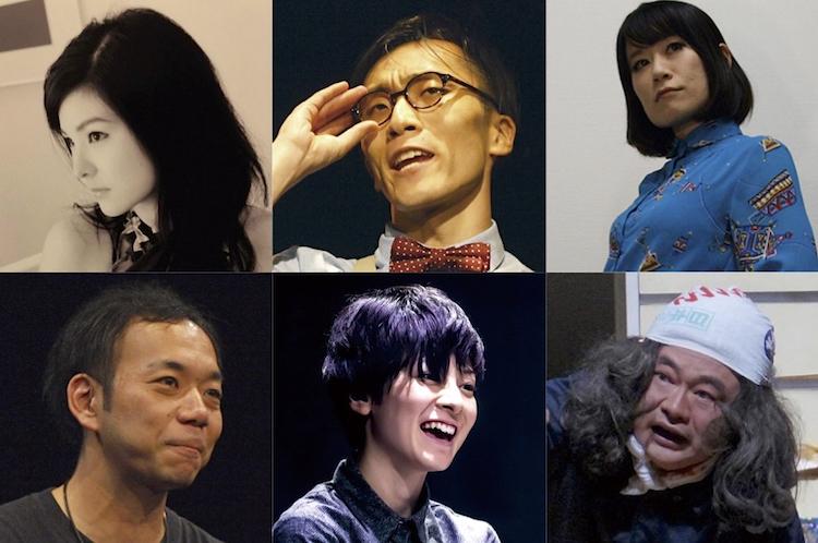 『INDEPENDENT:NGY』出演者 上段左から・a/秋葉由麻、d/竹田淳哉、f/福田恵 下段左から・e/葉山太司、b/鈴木理恵子、c/すぎうらとしはる