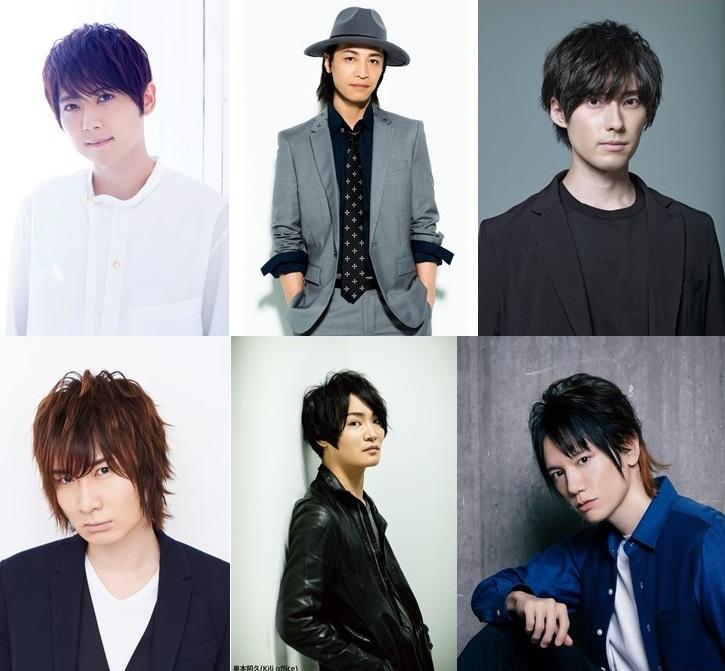 上段左から梶 裕貴さん、鳥海浩輔さん、増田俊樹さん、下段左から前野智昭さん、細谷佳正さん、KENNさん