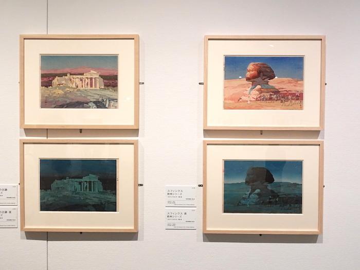 左上:《アゼンスの古跡 欧州シリーズ》左下:《アゼンスの古跡 夜 欧州シリーズ》すべて大正14年 千葉市美術館/個人、右上:《スフィンクス 欧州シリーズ》右下:《スフィンクス 夜 欧州シリーズ》大正14年 千葉市美術館/個人