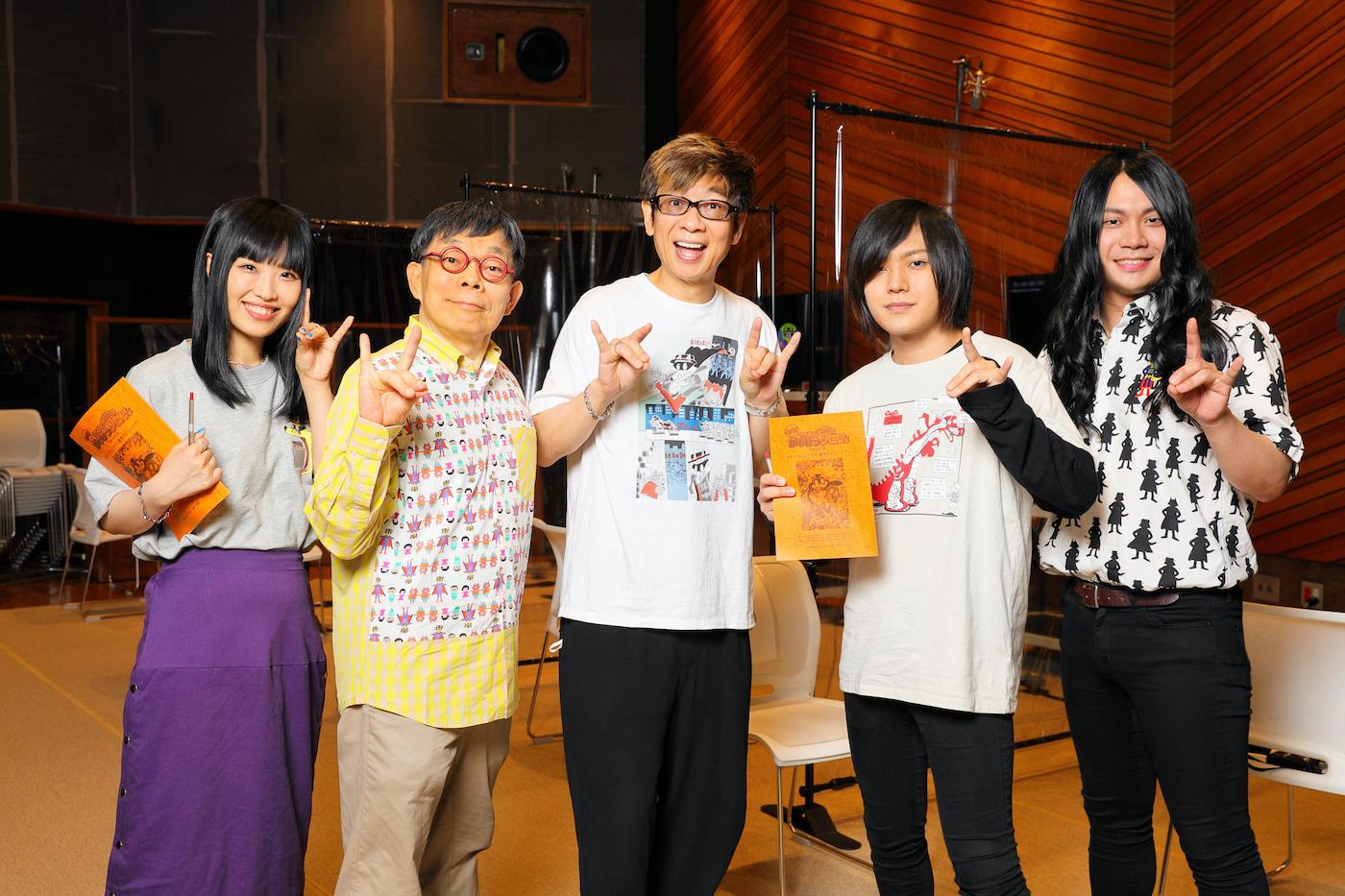 集合写真(左から、しばた、原作者・原ゆたか、ゾロリ役・山寺宏一、こやま、もりもと)