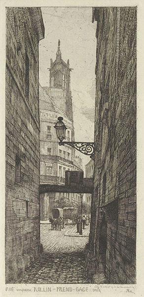 アドルフ・マルシアル=ポテモン《ロラン=プラン=ガージュ通り(袋小路)》1864年 エッチング、紙(『いにしえのパリ』1866年より) 鹿島茂コレクション