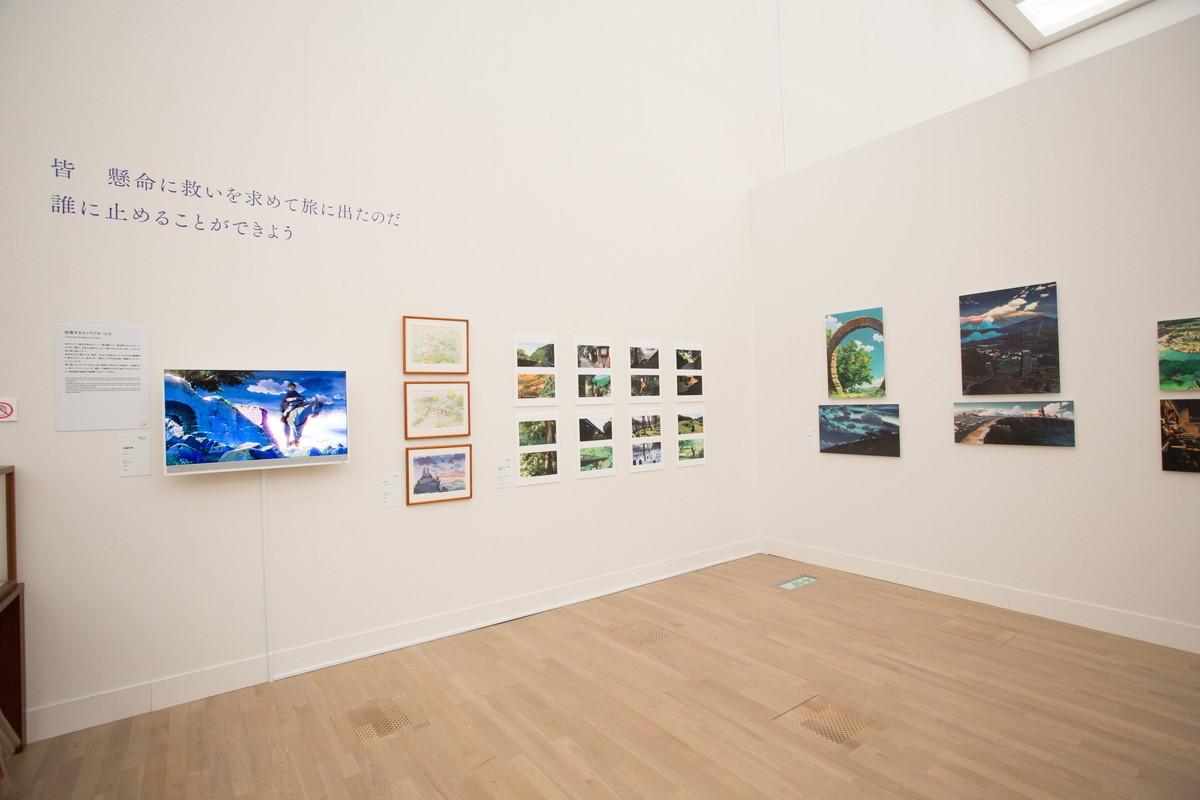 『星を追う子ども』より絵コンテ、展示には作品それぞれの印象的なセリフが添えられている